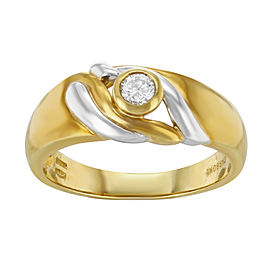 Salvini 18K Yellow & White Gold with 0.15ct Diamond Ring Size 8