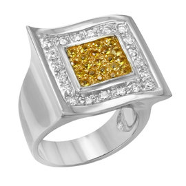 Saya 18K White Gold with 0.7ct Two Tone Diamond Cocktail Ring Size 7.75