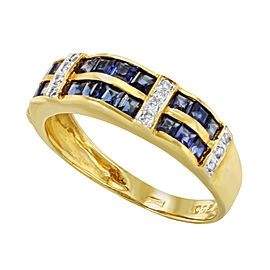 Saya 18K Yellow Gold with 0.14ct Diamonds and Blue Sapphire Ring Size 7