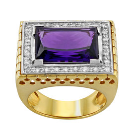 Saya 18K Yellow and White Gold with 0.56ctw Diamonds and Amethyst Cocktail Ring Size 7.5