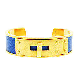 Gold Plated Hermes Gold Plated Blue Kelly Cadena Cuff Bangle Bracelet