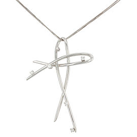 Saya 18K White Gold with 0.20ctw Diamond Pendant Necklace