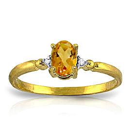 0.46 CTW 14K Solid Gold Citrine Rules Citrine Diamond Ring