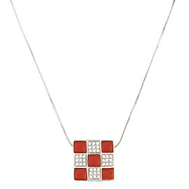 18K White Gold and 0.35ctw Diamond and Coral Pendant Necklace
