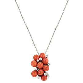 Lux Gioielli 18K White Gold 0.11cts Diamonds & Coral Pendant Necklace