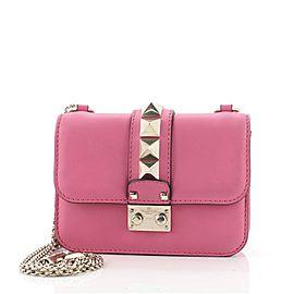 Valentino Glam Lock Shoulder Bag Leather Mini