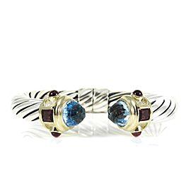 David Yurman Renaissance Sterling Silver Blue Topaz; Pink Tourmaline Bracelet