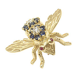 Tiffany & Co. 18K Yellow Gold with 0.45ct. Diamond 1.87ct. Sapphire and 0.02ct. Ruby Fly Bee Vintage Pin Brooch