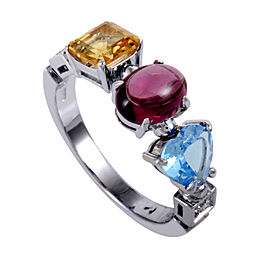 Bvlgari 18K White Gold Diamond and Gemstone Allegra Ring Size 6.25