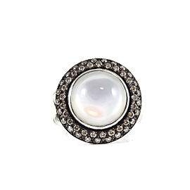 David Yurman Sterling Silver .65tcw 14mm Moonstone Quartz Diamond Cerise Ring