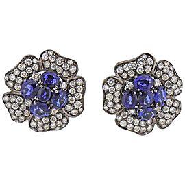 Diamond Sapphire Gold Flower Earrings