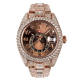 18K ROSE GOLD ROLEX SKY-DWELLER 326935 42MM BROWN DIAL WITH ARABIC NUMERALS 28.75CT DIAMONDS