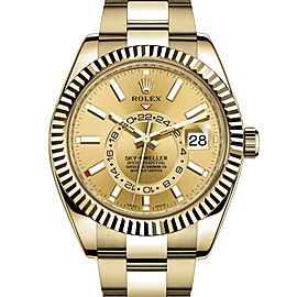 Rolex Sky-Dweller 42 Champagne Arabic Dial Yellow Gold Men's Watch 326938