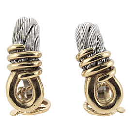 Fred 18K Yellow Gold & Steel Cable Earrings