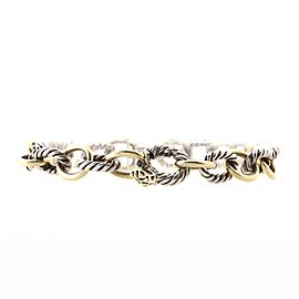David Yurman Oval Link Bracelet Sterling Silver and 18K Yellow Gold Medium