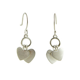 Me & Ro 925 Sterling Silver Double Heart Drop Dangle Hook Earrings