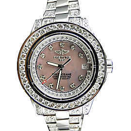 Breitling Aeromarine Pink Colt Ocean 9.5 Ct Diamond Ladies Watch