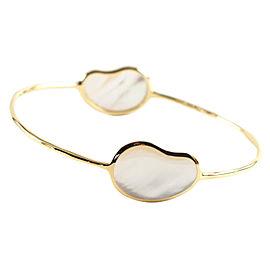 Ippolita 18K Yellow Gold & White Mother of Pearl 2 Stone Bean Bangle Bracelet