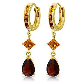 5.15 CTW 14K Solid Gold Huggie Earrings Dangling Garnet Citrine