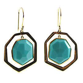 Ippolita 18K Yellow Gold with Turquoise Frame Drop Dangle Earrings