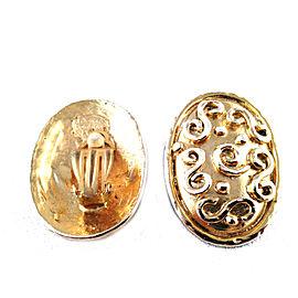 Eduard Rambaud Oval Swirl Paris 14 kt Gold Plated Clip-On Vintage Earrings