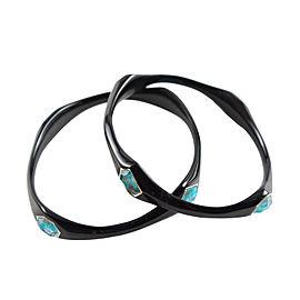 Ippolita Black Resin Sterling Silver Bronze Turquoise Bangle Bracelet