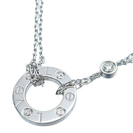 Cartier 2P Diamond & 18k white Gold Love Circle Necklace