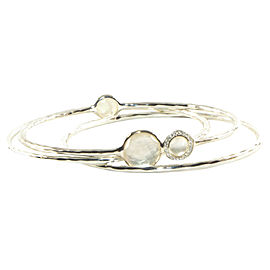 Ippolita Sterling Silver Mother of Pearl Diamond Bangle Bracelet Trio Set