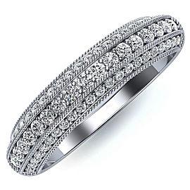 14K White Gold 0.90 Ctw Diamond Wedding Band Ring