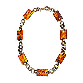 Yves Saint Laurent Rectangular Faux Tortoise Shell Chain Necklace