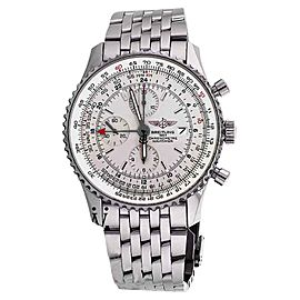 Breitling A24322 Navitimer World GMT White Face Chronograph 46mm Mens Watch