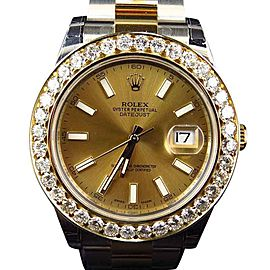 Rolex Date Just II 2 With Two Tone Genuine Diamond Bezel 41 MM 116333 Mens Watch