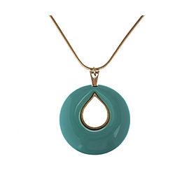 Lanvin Plastic Turquoise Pendant Necklace