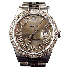 Rolex 36 MM Datejust Jubilee Pave Stainless Steel Diamond Watch