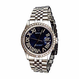 Rolex 36 MM Datejust Jubilee Roman Stainless Steel Diamond 3.5 Ct Mens Watch