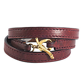 Ippolita 18K Yellow Gold Bordeaux Leather Wrap Toggle Pelle Bracelet