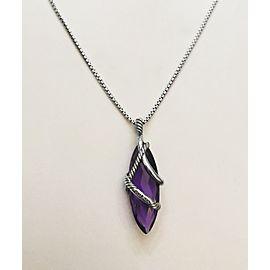 David Yurman Sterling Silver 0.15ct Diamond Amethyst Necklace