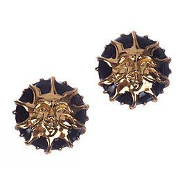Fendi Gold and Black Enamel Sun Earrings