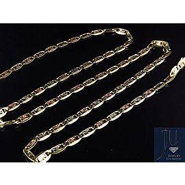 10K Tri-Tone Gold Valentino Style Chain Necklace