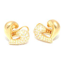Van Cleef 18k Yellow Gold & Diamond Pave Heart Clip On Earrings