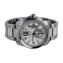 Calibre de Cartier Silver Dial Stainless Steel Automatic Skeleton Men's Watch