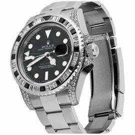 Rolex GMT Master II 116710LN Black Dial & Baguette Diamod Bezel Lugs Watch