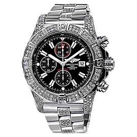 Breitling Super Avenger A13370 Black Dial Watch Diamond Bezel Case Lugs Mens Watch