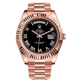 Rolex Day-Date II Presidential 218235 Black Dial With Roman Numerals 18K Pink Gold Watch