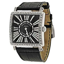 Franck Muller 6002 M Quartz Master Square Black Dial & 1 Row Diamond Bezel Watch