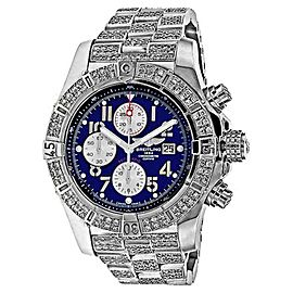 Breitling Super Avenger A13370 Blue Dial Diamond Bracelet and Bezel Watch