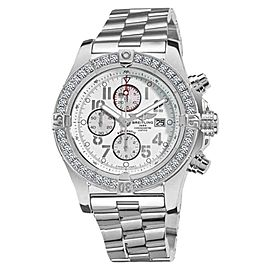 Breitling Super Avenger A13370 White Dial Arabic 3.20ct 1 Row Diamond Bezel Watch