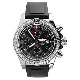 Breitling A13370 Super Avenger Chronograph Black Dial Diamond 48mm Men's Watch