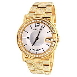 Gucci Diamond Watch YA101306 Yellow Gold G 101M 40mm Fully Iced Band Watch