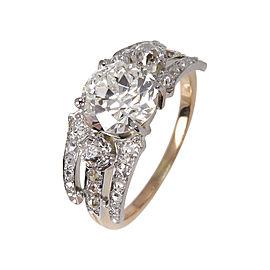 18K Yellow Gold Old Euro Diamond Wide Engagement Wedding Band Ring